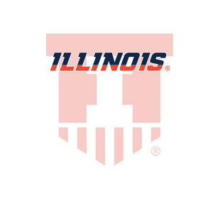 University of Illinois Badge - Fighting Illini White Kids Mask Design Full View