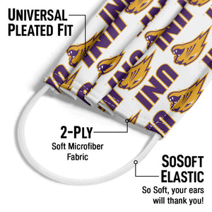 Load image into Gallery viewer, University of Northern Iowa Logo Repeat - UNI Panthers Away Adult Universal Pleated Fit, 2-Ply, SoSoft Elastic Earloops