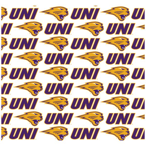 Load image into Gallery viewer, University of Northern Iowa Logo Repeat - UNI Panthers Away Adult Mask Design Full View