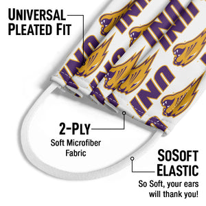 Load image into Gallery viewer, University of Northern Iowa Logo Repeat - UNI Panthers Away Kids Universal Pleated Fit, 2-Ply, SoSoft Elastic Earloops