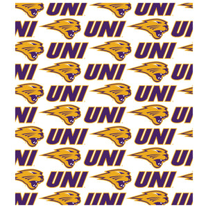 University of Northern Iowa Logo Repeat - UNI Panthers Away Kids Mask Design Full View