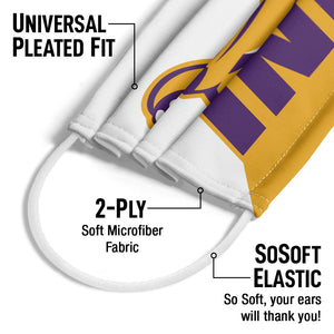 University of Northern Iowa Panthers - Gold and White Adult Universal Pleated Fit, 2-Ply, SoSoft Elastic Earloops