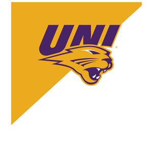 University of Northern Iowa Panthers - Gold and White Kids Mask Design Full View