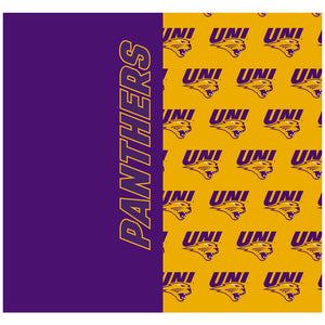 Load image into Gallery viewer, University of Northern Iowa Panthers Split Logo Pattern Adult Mask Design Full View