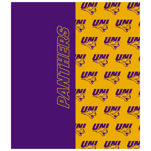 Load image into Gallery viewer, University of Northern Iowa Panthers Split Logo Pattern Kids Mask Design Full View