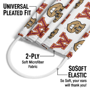 University of Minnesota Gophers Logo Repeat - Away Adult Universal Pleated Fit, 2-Ply, SoSoft Elastic Earloops