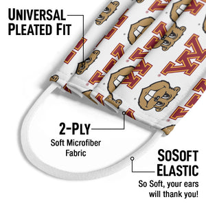 Load image into Gallery viewer, University of Minnesota Gophers Logo Repeat - Away Kids Universal Pleated Fit, 2-Ply, SoSoft Elastic Earloops