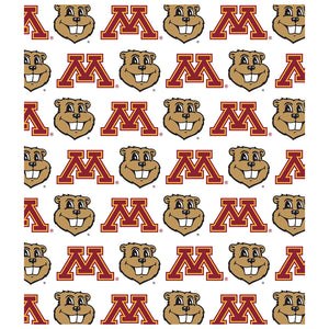 Load image into Gallery viewer, University of Minnesota Gophers Logo Repeat - Away Kids Mask Design Full View