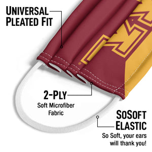 University of Minnesota Gophers Maroon and Gold Kids Universal Pleated Fit, 2-Ply, SoSoft Elastic Earloops