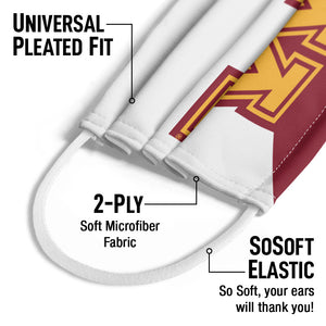University of Minnesota Maroon and White Kids Universal Pleated Fit, 2-Ply, SoSoft Elastic Earloops