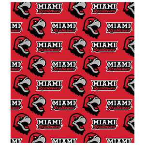Miami University (OH) Logo Repeat - Miami RedHawks Home Kids Mask Design Full View