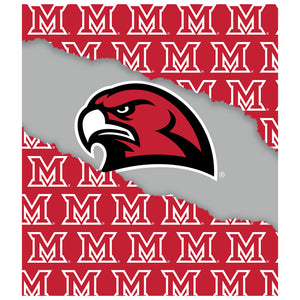 Load image into Gallery viewer, Miami University RedHawks Ripped Through Kids Mask Design Full View
