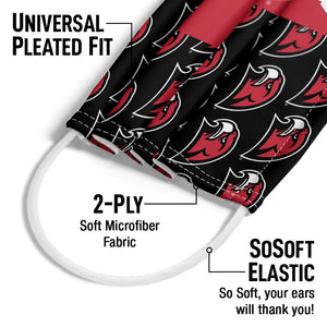 Miami University RedHawks Split Logo Pattern Adult Universal Pleated Fit, 2-Ply, SoSoft Elastic Earloops