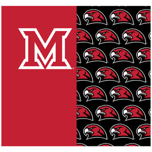 Miami University RedHawks Split Logo Pattern Adult Mask Design Full View
