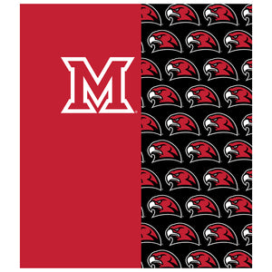 Miami University RedHawks Split Logo Pattern Kids Mask Design Full View
