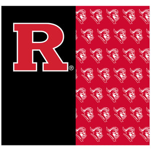 Load image into Gallery viewer, Rutgers University Scarlet Knights Split Color logo pattern Adult Mask Design Full View