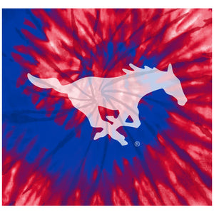 Load image into Gallery viewer, Southern Methodist University - SMU Mustangs Tie Dye Adult Mask Design Full View