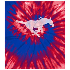 Load image into Gallery viewer, Southern Methodist University - SMU Mustangs Tie Dye Kids Mask Design Full View