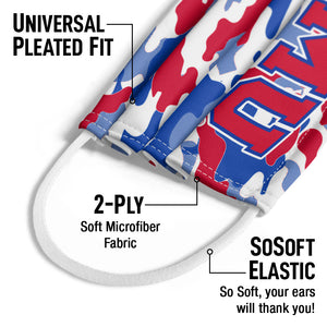 Southern Methodist University - SMU Mustangs Camo Kids Universal Pleated Fit, 2-Ply, SoSoft Elastic Earloops