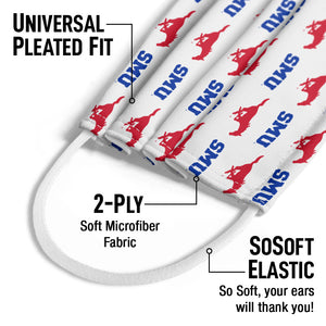 Load image into Gallery viewer, Southern Methodist University - SMU Mustangs Logo Repeat Away Kids Universal Pleated Fit, 2-Ply, SoSoft Elastic Earloops