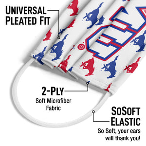 Southern Methodist University - SMU Mustangs Mascot White Adult Universal Pleated Fit, 2-Ply, SoSoft Elastic Earloops