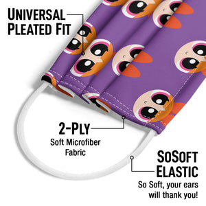 Powerpuff Girls Blossom Head Pattern Adult Universal Pleated Fit, 2-Ply, SoSoft Elastic Earloops