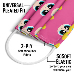 Powerpuff Girls Bubbles Head Pattern Adult Universal Pleated Fit, 2-Ply, SoSoft Elastic Earloops