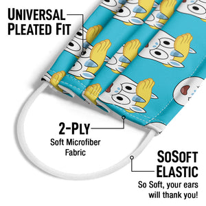 Powerpuff Girls Donny Head Pattern Adult Universal Pleated Fit, 2-Ply, SoSoft Elastic Earloops