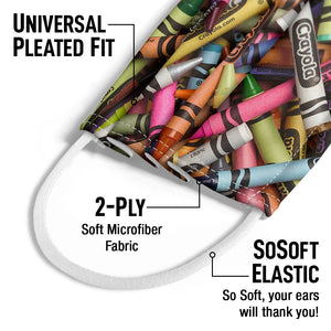 Crayola Pile of Crayons Kids Universal Pleated Fit, 2-Ply, SoSoft Elastic Earloops