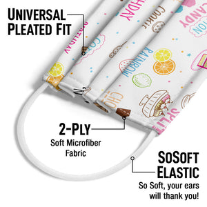 Dippin' Dots Flavors Pattern Adult Universal Pleated Fit, 2-Ply, SoSoft Elastic Earloops