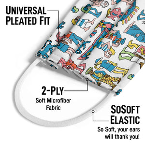 Where's Waldo Figures Kids Universal Pleated Fit, 2-Ply, SoSoft Elastic Earloops