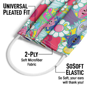 Trolls and Flowers Pattern Adult Universal Pleated Fit, 2-Ply, SoSoft Elastic Earloops