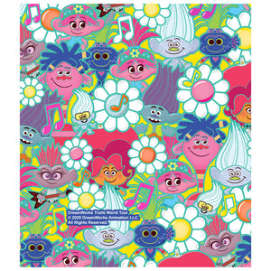 Trolls and Flowers Pattern Kids Mask Design Full View