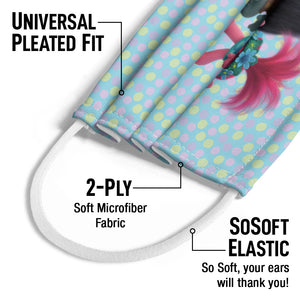 Trolls Branch and Poppy Kids Universal Pleated Fit, 2-Ply, SoSoft Elastic Earloops