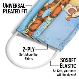 Winnie the Pooh and Tigger In the Woods Adult Universal Pleated Fit, 2-Ply, SoSoft Elastic Earloops