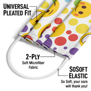 emoji TM - The Iconic Brand Dot Pattern Adult Universal Pleated Fit, 2-Ply, SoSoft Elastic Earloops