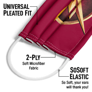 The Flash: TV Series Chest Logo Adult Universal Pleated Fit, 2-Ply, SoSoft Elastic Earloops