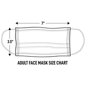 "Adult Cloth Face Mask Size: 3.5"" height, 7"" width"
