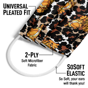 Garfield Wild Cat Leopard Pattern Adult Universal Pleated Fit, 2-Ply, SoSoft Elastic Earloops
