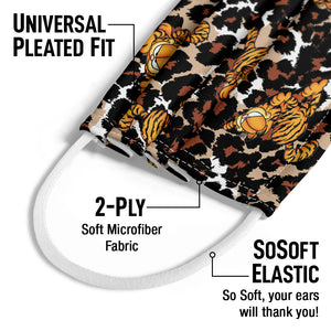 Load image into Gallery viewer, Garfield Wild Cat Leopard Pattern Kids Universal Pleated Fit, 2-Ply, SoSoft Elastic Earloops