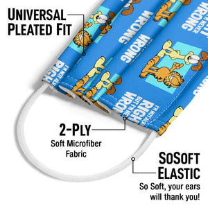 Garfield and Odie I'm Never Wrong Pattern Adult Universal Pleated Fit, 2-Ply, SoSoft Elastic Earloops