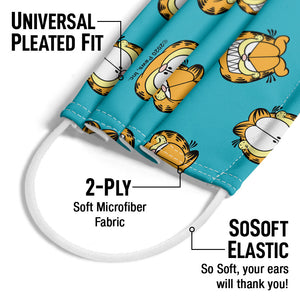 Garfield Face Pattern Adult Universal Pleated Fit, 2-Ply, SoSoft Elastic Earloops