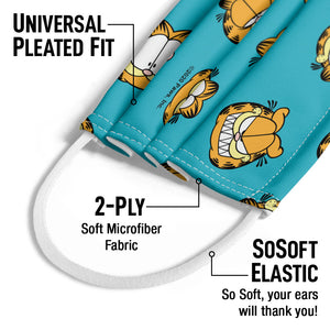 Garfield Face Pattern Kids Universal Pleated Fit, 2-Ply, SoSoft Elastic Earloops