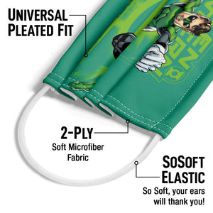 Green Lantern Officer Sector 2814 Adult Universal Pleated Fit, 2-Ply, SoSoft Elastic Earloops