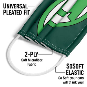 Green Lantern Lantern Logo Adult Universal Pleated Fit, 2-Ply, SoSoft Elastic Earloops