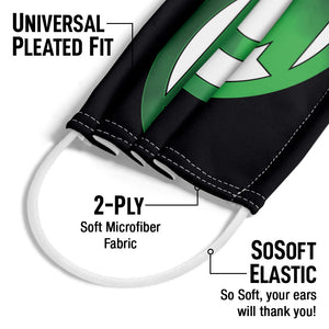 Green Lantern Green Chrome Logo Adult Universal Pleated Fit, 2-Ply, SoSoft Elastic Earloops
