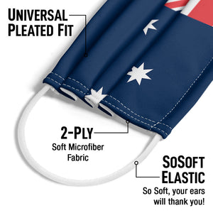 Load image into Gallery viewer, Australian Flag Adult Universal Pleated Fit, 2-Ply, SoSoft Elastic Earloops