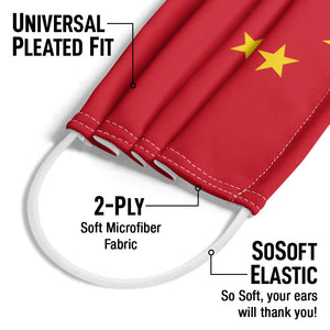 China Flag Adult Universal Pleated Fit, 2-Ply, SoSoft Elastic Earloops