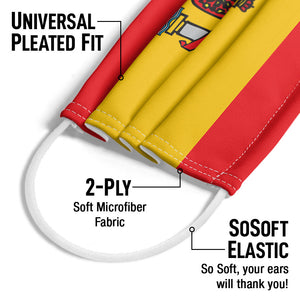 Load image into Gallery viewer, Spain Flag Adult Universal Pleated Fit, 2-Ply, SoSoft Elastic Earloops