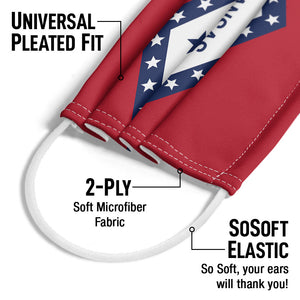 Load image into Gallery viewer, Arkansas Flag Adult Universal Pleated Fit, 2-Ply, SoSoft Elastic Earloops